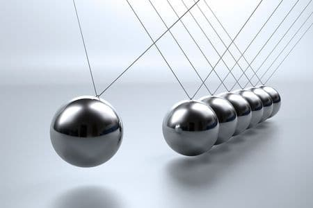 6169600 - metal pendulum balls balancing from strings in newton's cradle