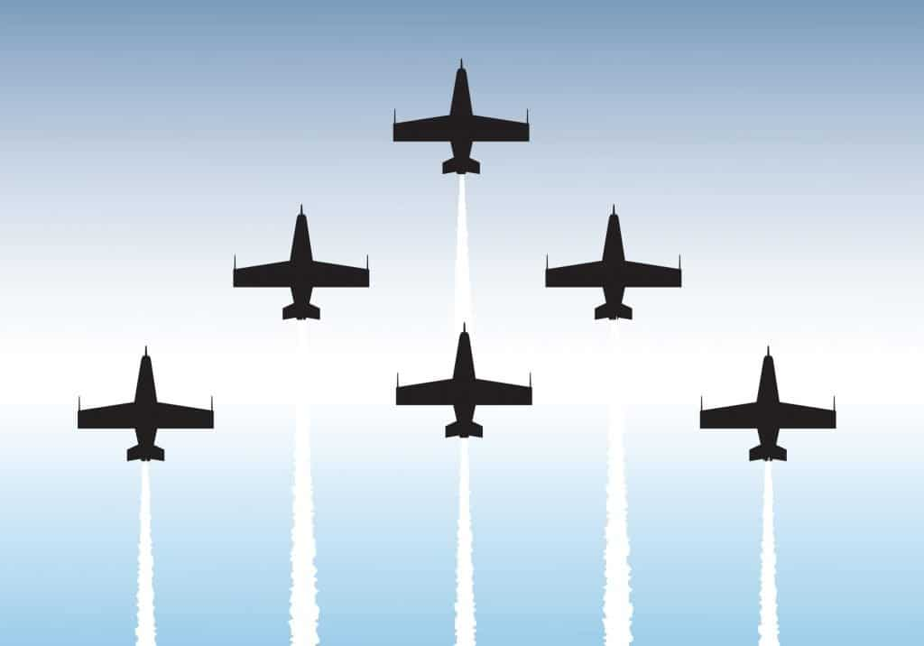 jest flying in tight formation
